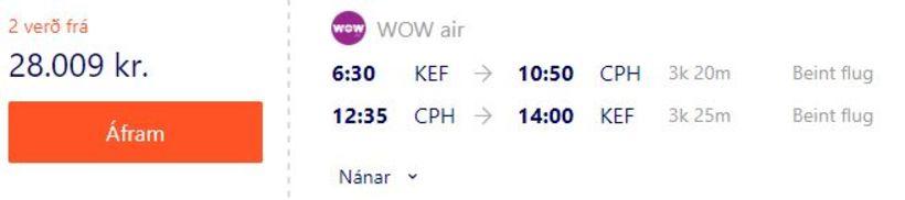 Flugverð með WOW Air til Kaupmannahafnar um helgina.