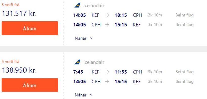 Flugverð með Icelandair til Kaupmannahafnar um helgina.