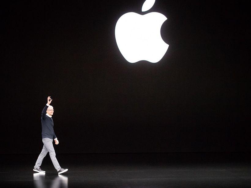 Tim Cook á Apple-kynningunni í vikunni.