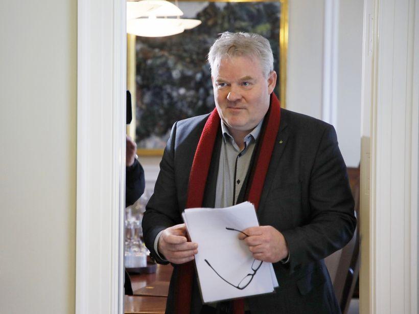 Sigurður Ingi Jóhannsson í Stjórnarráðinu í morgun.