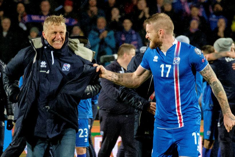 Heimir Hallgrímsson og Aron Einar Gunnarsson á góðri stundu með ...