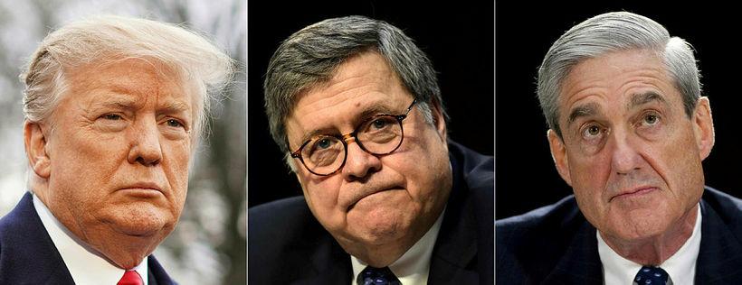 Donald Trump Bandaríkjaforseti, dómsmálaráðherrann William Barr og Robert Mueller, sérstakur …