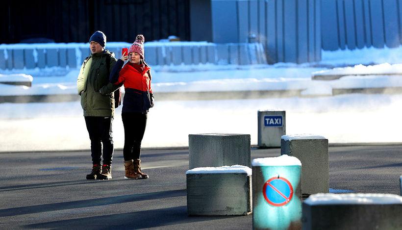 Ferðamenn við Hörpu í Reykjavík.