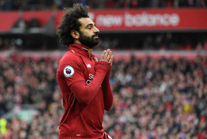 Mohamed Salah fagnar marki sínu í gær.