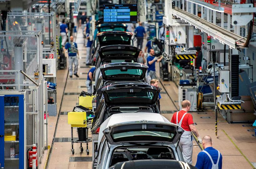 Frá verksmiðju Volkswagen í Wolfsburg í Þýskalandi.