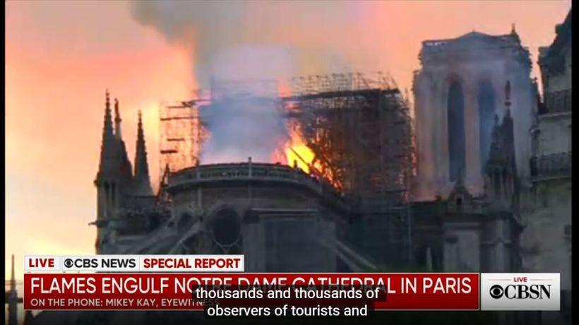 CBS sjónvarpsstöðin sendir beint út frá brunanum í Notre Dame ...