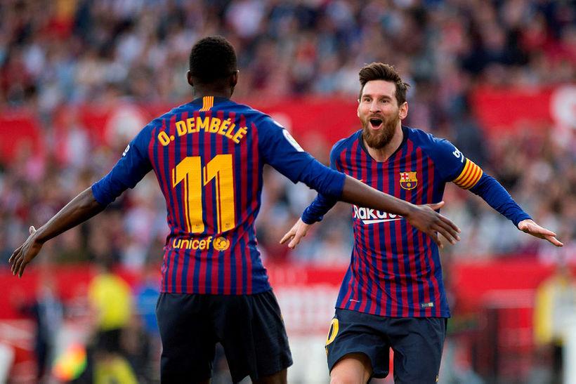Lionel Messi og Ousmane Dembélé.