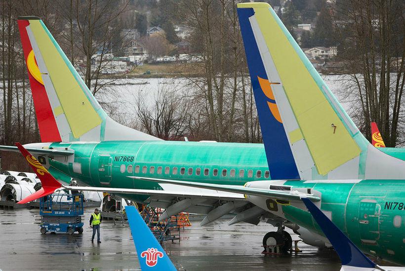 Boeing 737 Max-farþegaþotur við verksmiðju Boeing í Renton í Washington-ríki. ...