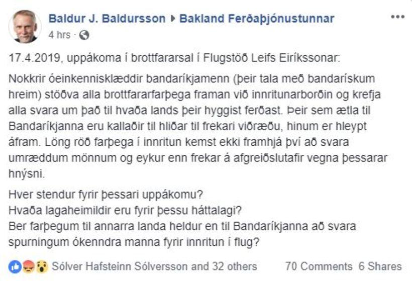 Farþeginn lýsir uppákomunni í færslu í hópnum Bakland ferðaþjónustunnar.