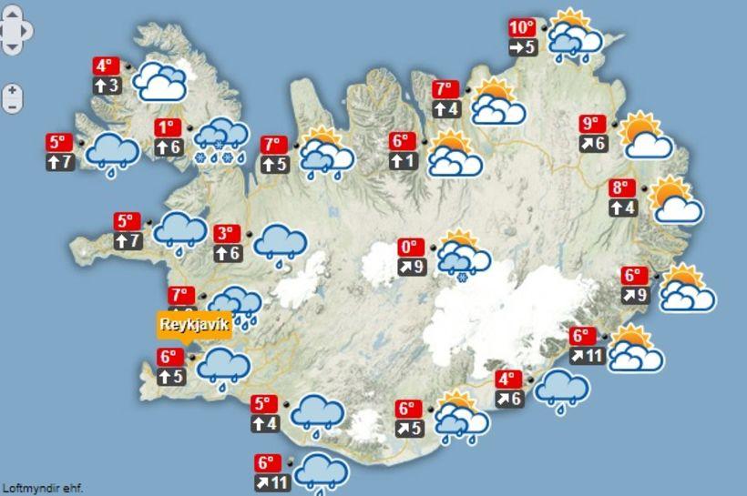 Hiti verður á bilinu 3 til 12 stig í dag.
