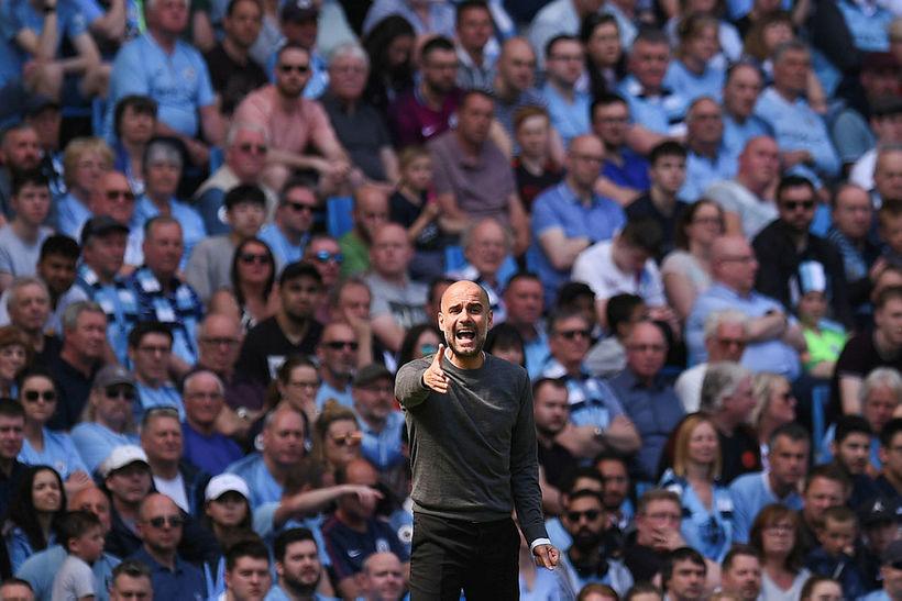 Pep Guardiola, knattspyrnustjóri Manchester City, var að vonum sáttur með ...