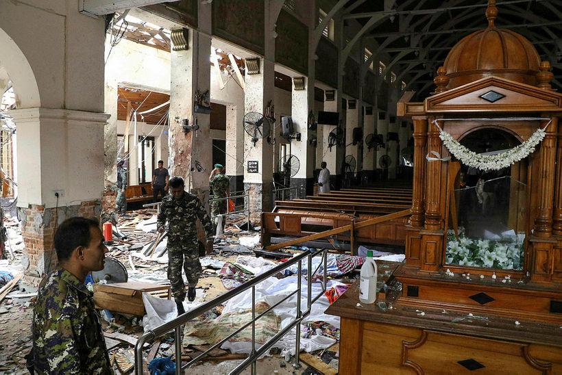 Frá kirkjunni St. Anthony's Shrine á Sri Lanka þar sem ...
