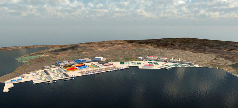 A computer-generated image of a potential container port in Finnafjörður ...