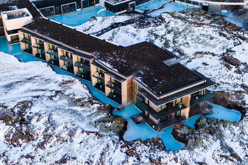 An aerial view of the hotel.