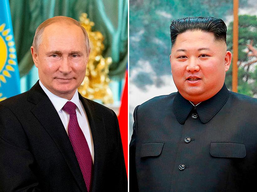 Vladimír Pútín Rússlandsforseti og Kim Jong-un, leiðtogi Norður-Kóreu, hittast á ...