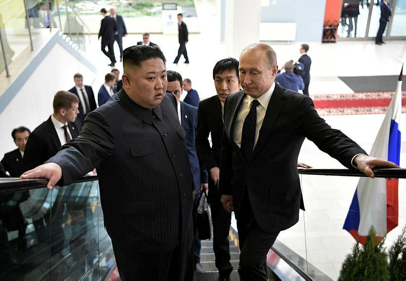 Kim Jong-un, leiðtogi Norður-Kóreu, og Vladimír Pútín, forseti Rússlands.