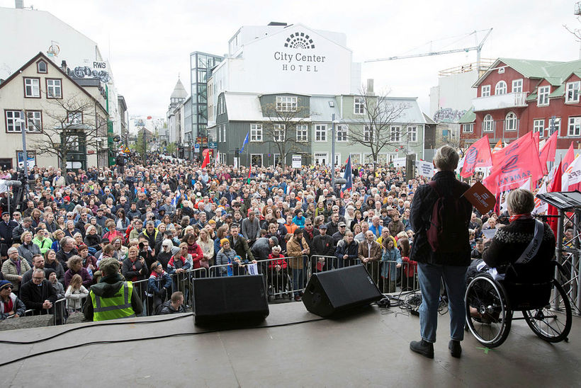 Speeches were given on Ingólfstorg square.