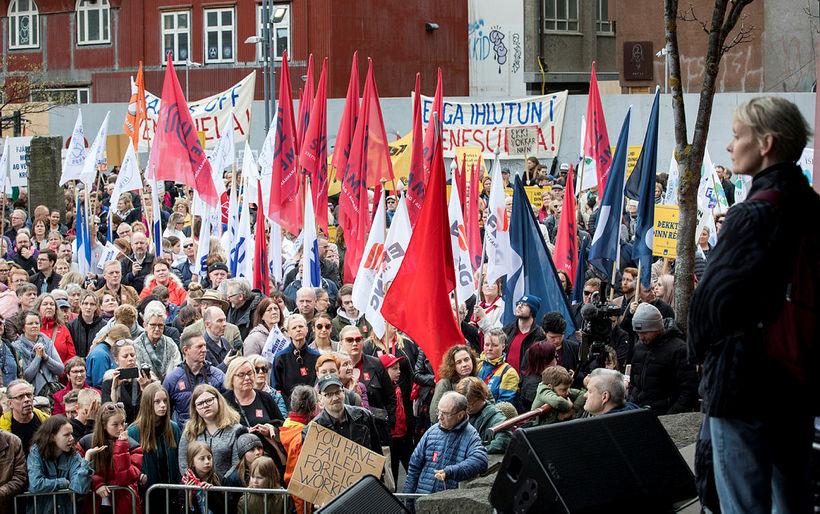 Sólveig Anna Jónsdóttir, leader of Efling union, addresses workers on ...