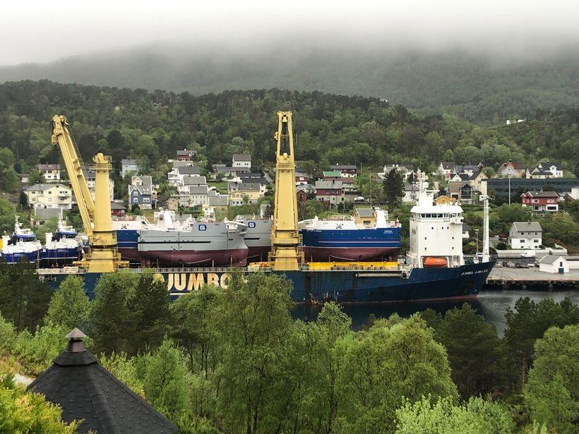Flutningaskipið með skipin í Brattavogi.