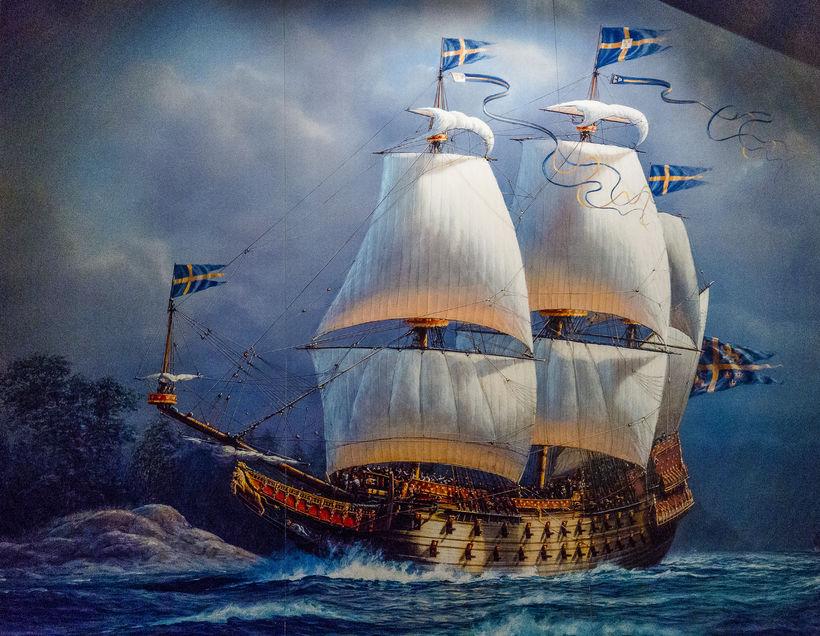 Málverk af hinu volduga Vasa-herskipi sem aldrei komst út á ...