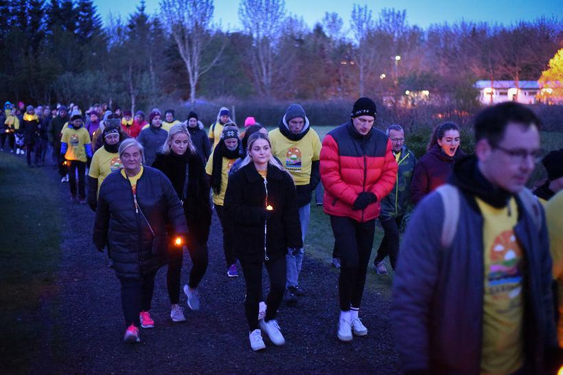 Um 300 manns tóku þátt í göngunni í Reykjavík.