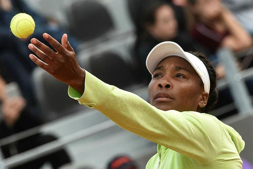 Venus Williams í leiknum gegn Elise Mertens