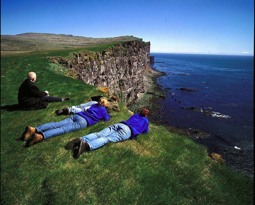 Horft yfir hnípta brún á Látrabjargi. Þeir ferðamenn sem þangað ...