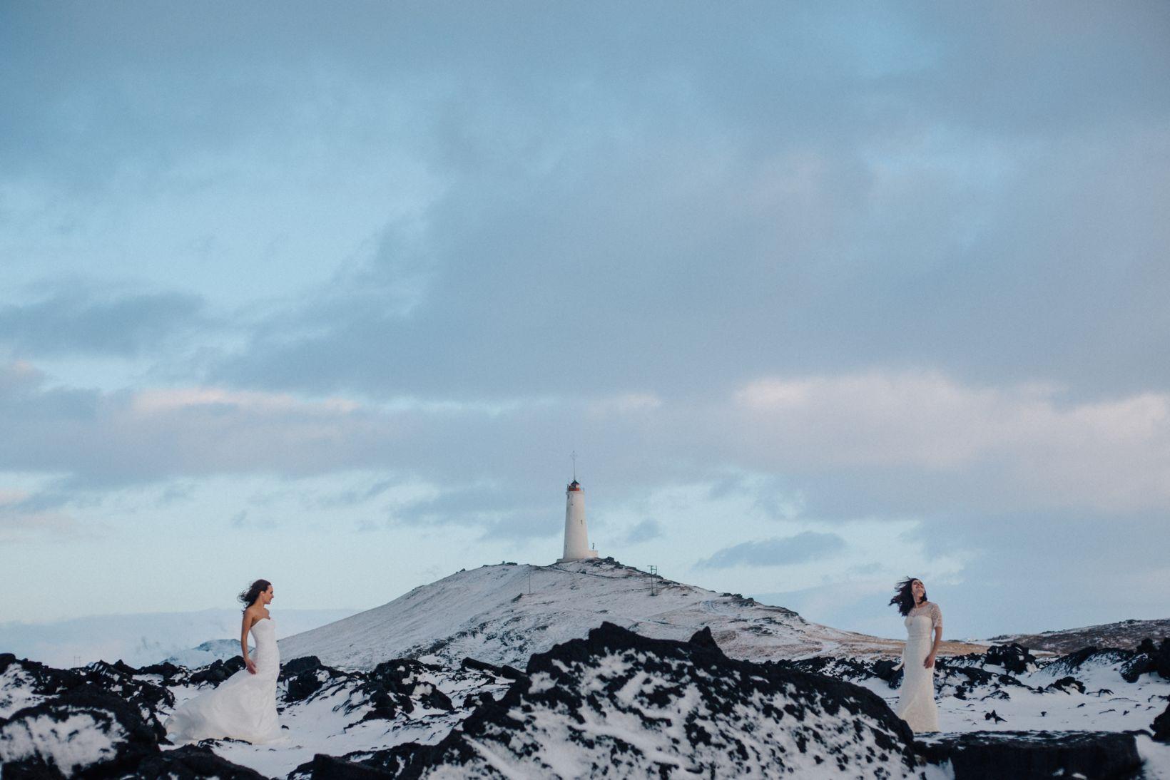 Pink Iceland wedding photo.