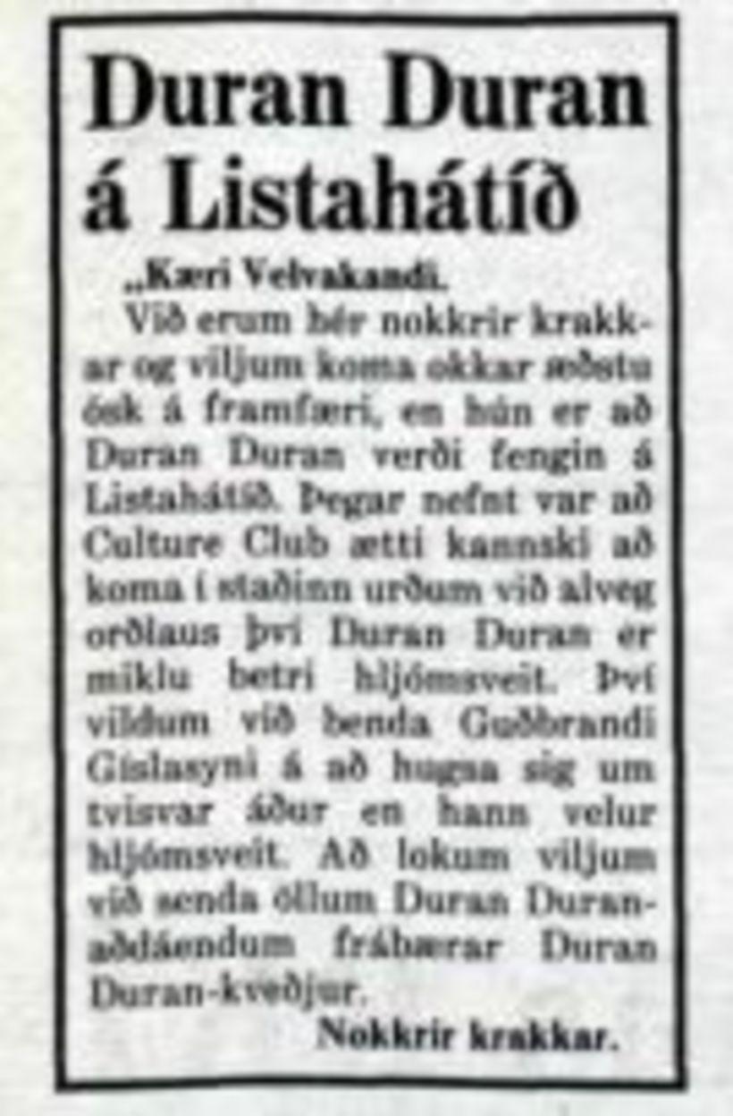 ... Að lokum viljum við senda öllum Duran Duran aðdáendum …