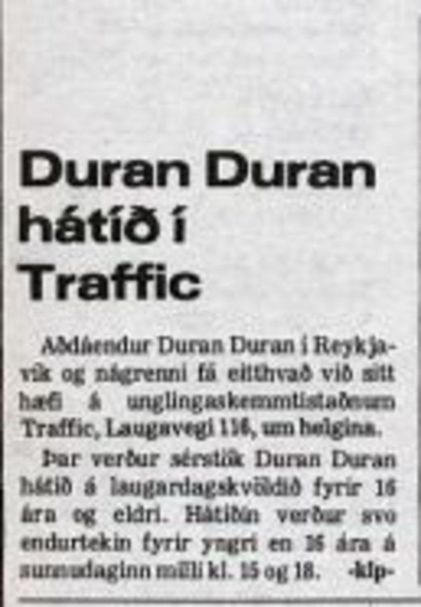 Aðdáendur Duran Duran blésu til hátíðar á unglingaskemmtistaðnum Traffic í …