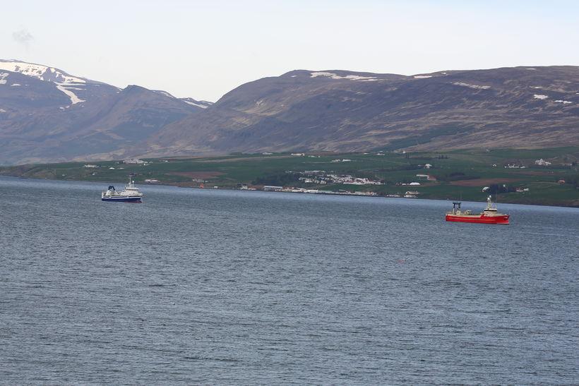Múlaberg með Sóley í togi skammt frá Akureyrarhöfn.