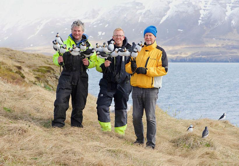 Árni Halldórsson, Freyr Antonsson og Bjarni Ómar Guðmundsson, holding the ...