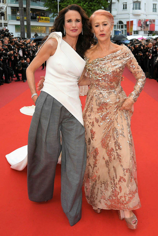 Andie MacDowell og Helen Mirren á rauða dreglinum.