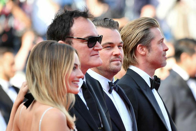 Margot Robbie, Quentin Tarantino, Leonardo DiCaprio og Brad Pitt.