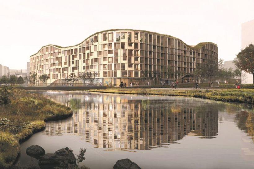 Vinningstillagan að uppbyggingu á Malarhöfðareitnum. Byggingin yrði stærsta timburbygging landsins.