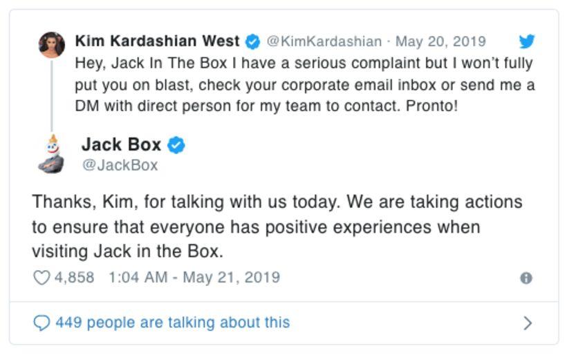 Jack in the Box þakkaði Kardashian kærlega fyrir.