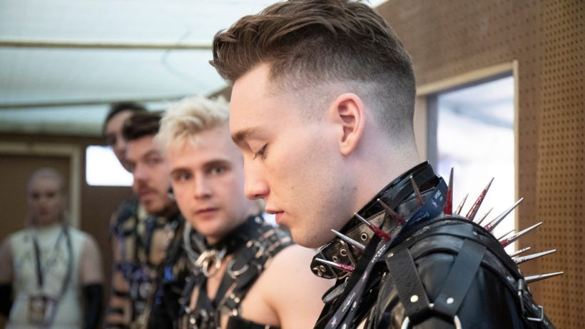 Hatari at their first rehearsal in Tel Aviv.