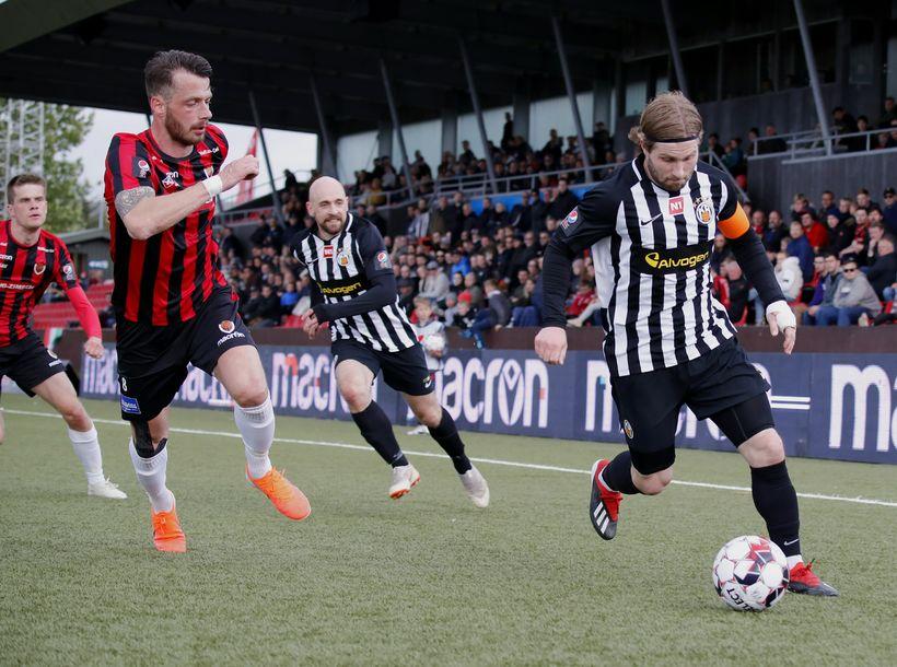 Óskar Örn Hauksson skoraði eina mark leiksins í kvöld.