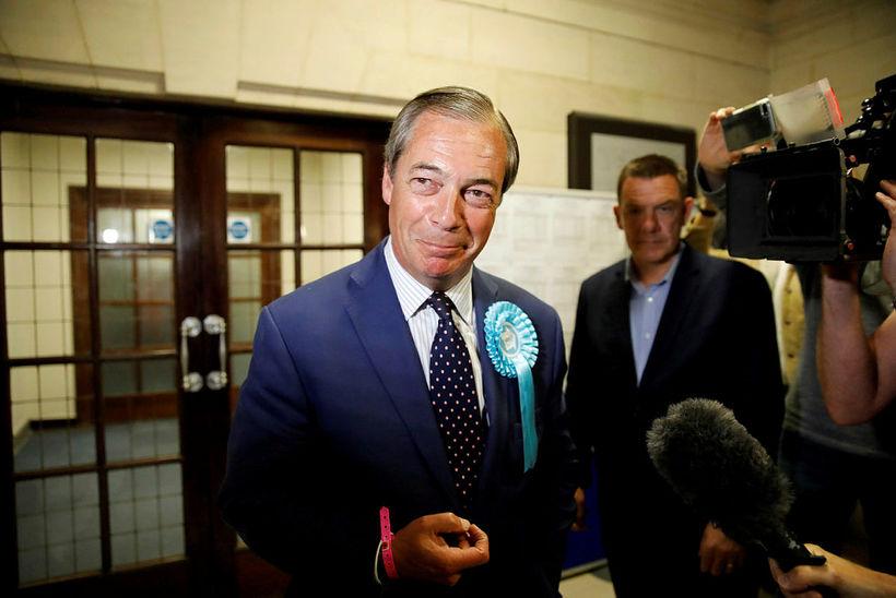 Nigel Farage, stofnandi og leiðtogi Brexit-flokksins, leyfði sér að brosa …