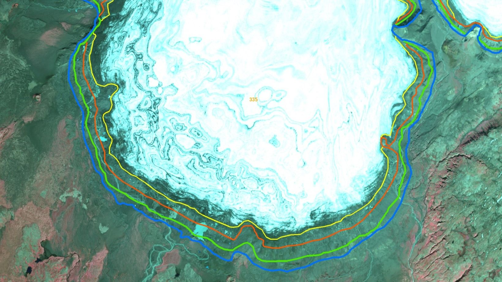 A map, showing how Síðujökull has retreated. The blue line …