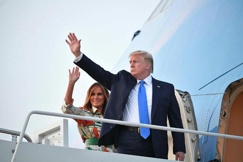 Bandarísku forsetahjónin, Donald Trump og Melania Trump, eru komin til ...