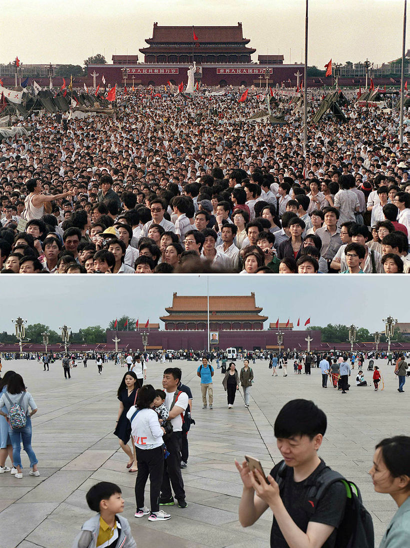 Tiananmen-torg 2. júní 1989 fyrir ofan. Neðri myndin var tekin ...