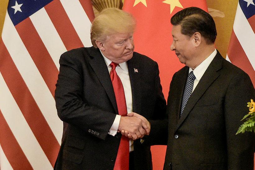 Donald Trump Bandaríkjaforseti og Xi Jinping, forseti Kína. Kínversk stjórnvöld ...