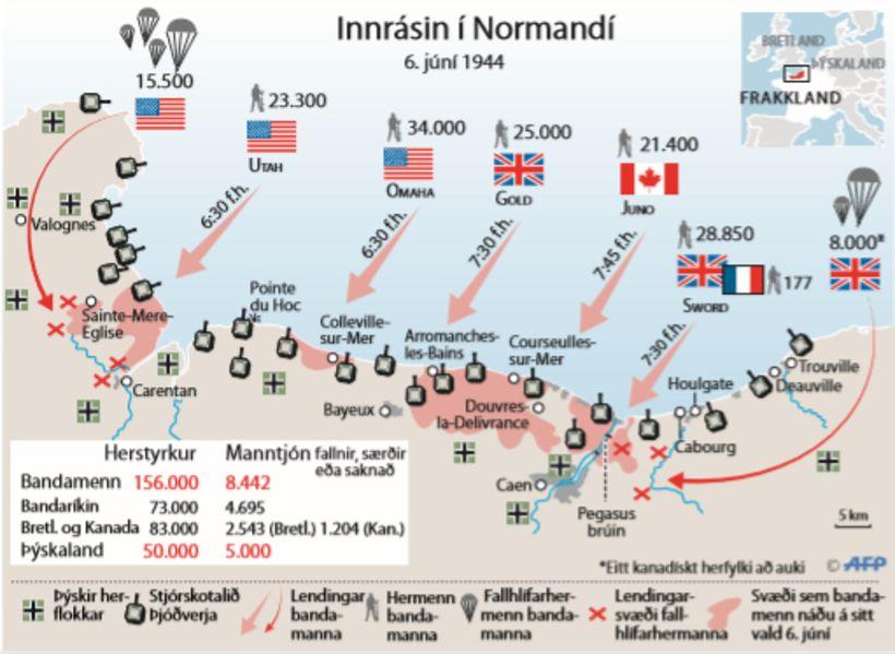 Skýringarkort af innrás bandamanna í Normandí.