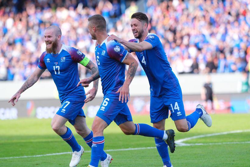 Aron Einar Gunnarsson, left, and Kári Árnason, right, celebrate with ...