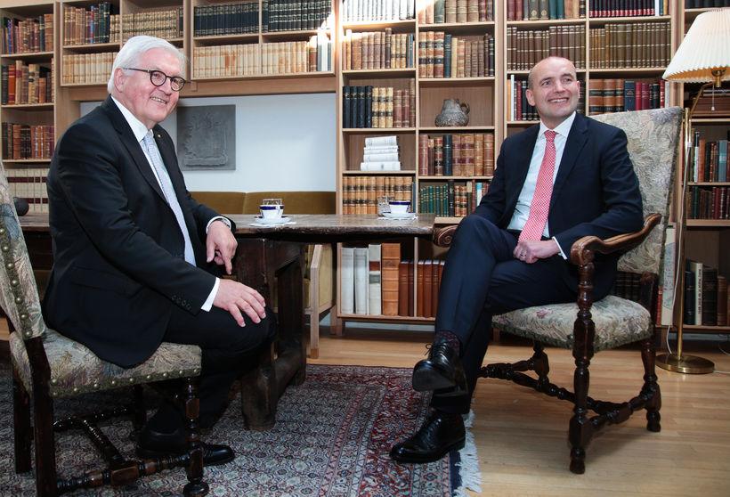 Frank-Walter Steinmeier og Guðni Th. Jóhannesson á Bessastöðum í dag.