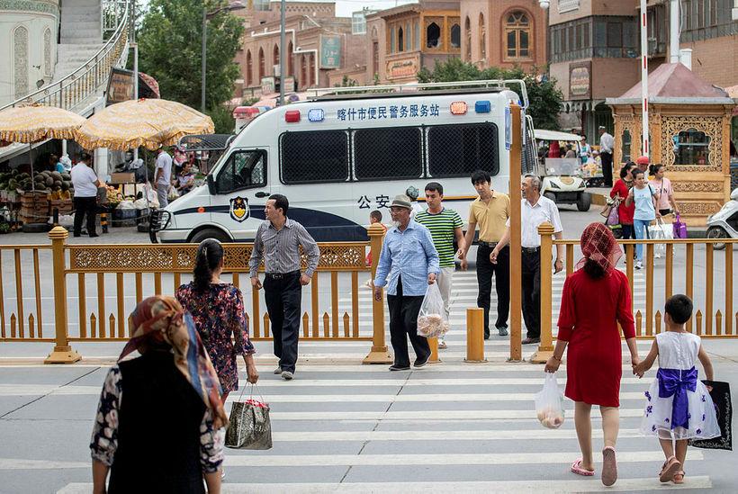 Götumynd frá borginni Kashgar í Xinjiang-héraði. Yfirvöld í héraðinu beita …