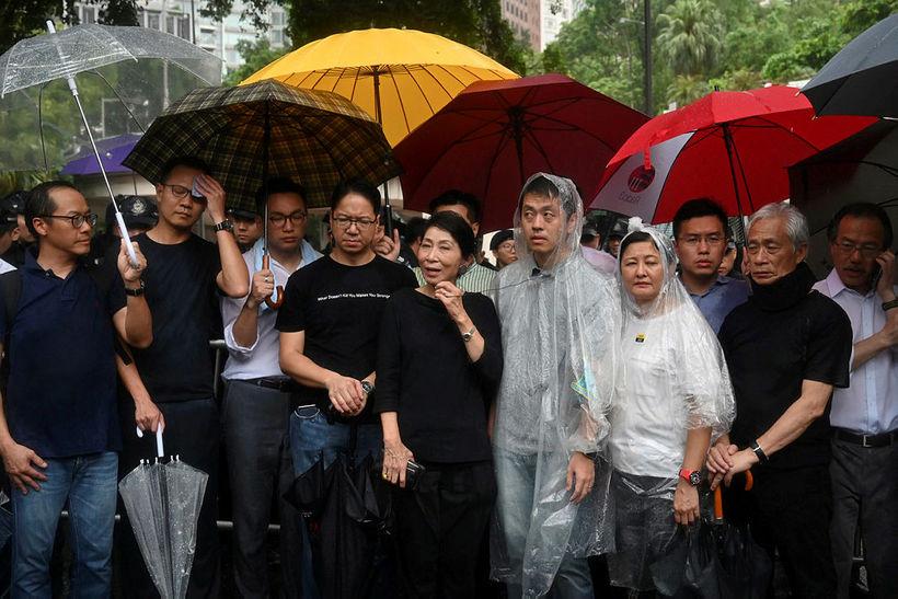 Mótmælendur í Hong Kong.