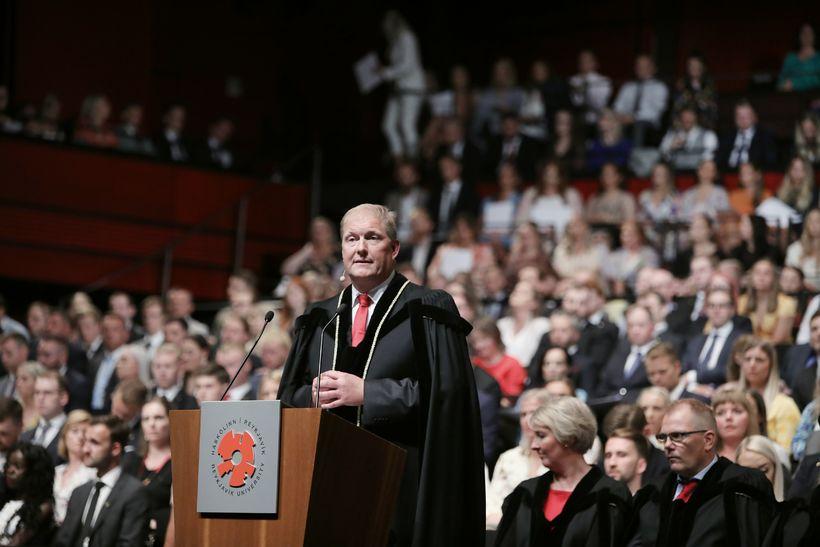 Ari Kristinn Jónsson, rektor Háskólans í Reykjavík, við hátíðlega athöfn …