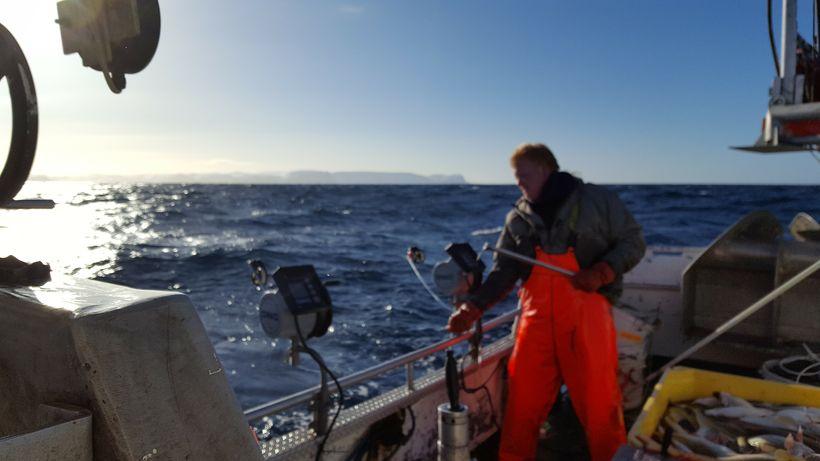 Sigurður Hjaltested á skakinu í Barentshafinu.